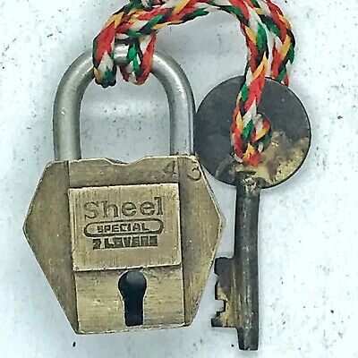 Antique Brass Collectible Padlock With Original Key Old Lock For Box Vintage