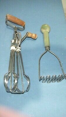 Vintage Collectable egg beater an Masher