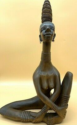 Very Large (59cm tall) Mid Century Modern Retro 1950s Carved Wooden AFRICAN LADY