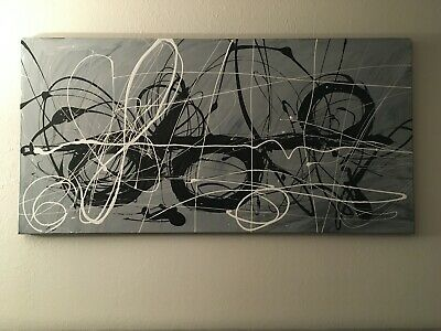 "Modern Large Black White & Grey Abstract Canvas Art Original Painting 24""x48"""