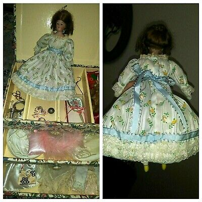 """Antique 10"""" Rare Bisque German head doll - Poupee w/Great Outfit Wardrobe cloths"""