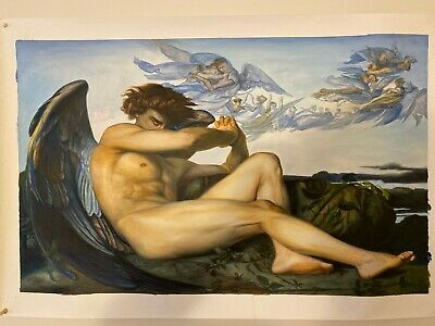 """Fallen Angel,Alexandre Cabanel, Hand painted, Oil on Canvas 32"""" x 20"""", 2019"""