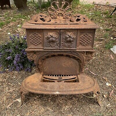 Rustic Antique Cast Iron Fire Grate Pit Fireplace Pot Belly Stove-RARE