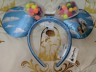 Disney Parks Minnie Mouse UP Cloud Ears Headband Balloon Grape Soda Bow NWT