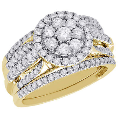 Ladies Yellow Gold Over 925 Silver Engagement Ring Round Wedding Band Bridal Set