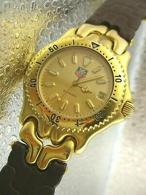TAG HEUER SEL.s/el, MENS professional 200m, 18k GOLD plated w/t leather band