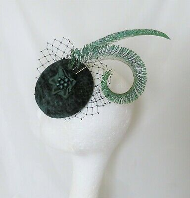 Bottle Green Peacock Feather Cocktail Hat Pearl Fascinator - Wedding Ascot Races
