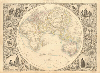 EASTERN HEMISPHERE.Shows mail routes to British colonies. RAPKIN/TALLIS 1851 map