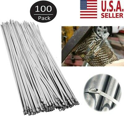 """100 Stainless Steel Exhaust Wrap Coated Metal Locking Cable Zip Ties 12"""" USA"""