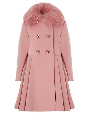 Monsoon Pink Maisie Fur Princess Fit Flare Girl Dress Coat Age 3 To 13 Year New