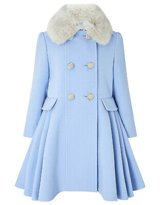 Monsoon Baby Blue Aurora Fur Collar Fit Flare Girls Dress Coat Age 3 to 13 Years