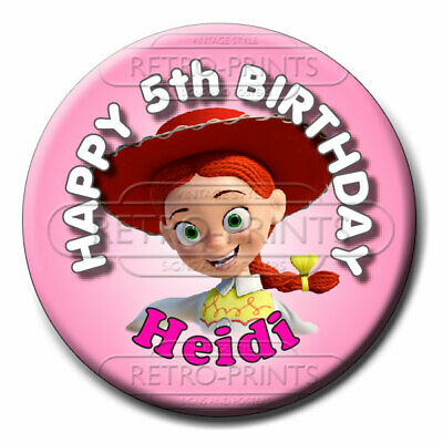 SIZE 77mm NEW ANY NAME AND AGE TOY STORY BIRTHDAY BADGE PERSONALISED