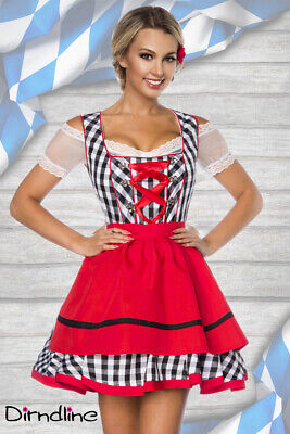 Check Party Dirndl Red Black White with Apron for Oktoberfest Mini XS-3XL