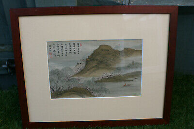 Chinese Landscape & Calligraphy Ink Watercolour Painting Picture on Silk -Signed