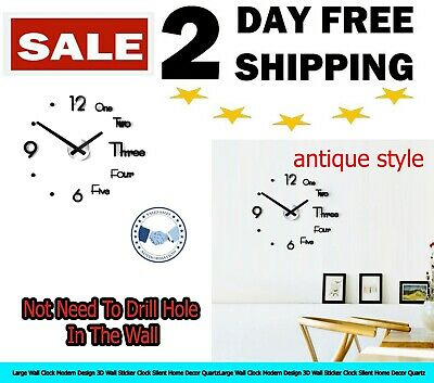 Large Wall Clock Modern Design 3D Wall Sticker Clock Silent Home Decor Quartz