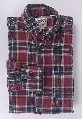 Naked & Famous Shirt Red Flannel Size S *F1217a5