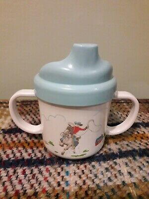 CATH KIDSTON CATH KIDS Blue White Cowboy Rodeo Horse Baby/Toddler Sippy Cup VGC