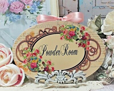 "Shabby Chic Vintage French Country Cottage style Wall Decor Sign ""Powder Room"""