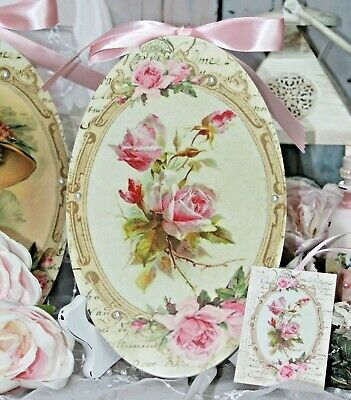 "Shabby Chic French Country Cottage style Wall Decor Sign ~ ""Pink French Roses"""