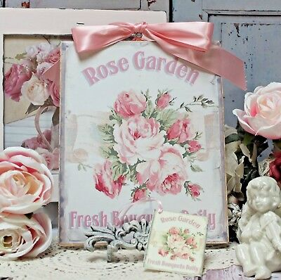 "Shabby Chic Vintage French Country Cottage style Wall Decor Sign ""Rose Garden"""