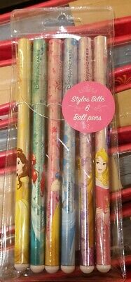SET 6 STYLOS BILLE / BALL PENS PRINCESSES Disneyland Paris