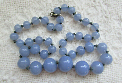 Lovely Antique Chinese Glass Bead Necklace Peking Lavender Opalescent Moonstone