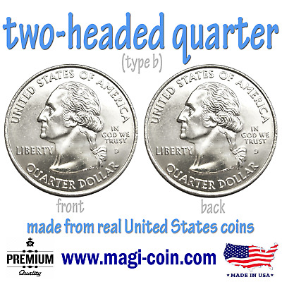 two headed quarter double sided coin trick flips 2 heads made from real US money