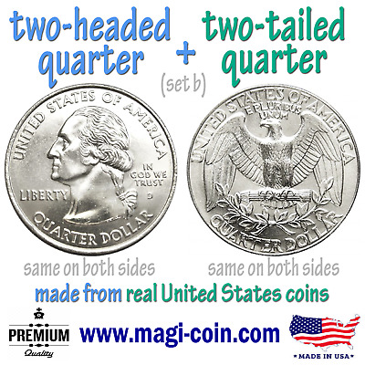 heads & tails double sided flip trick coins two headed 2 tailed real US quarters
