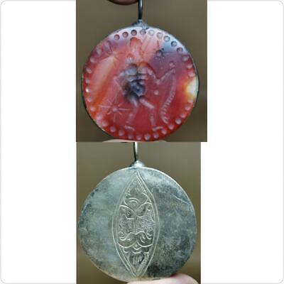 Near Eastern Old Snake Catcher intaglio Stone Silver Agate pendant  # 114
