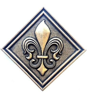 Fleur De Lis 4x4 Gold Resin Decorative Insert Accent Piece Arts Tile Backsplash
