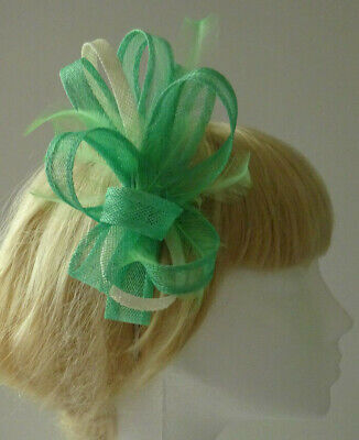 Tropical green fascinator on headband for wedding/mother of the bride/races