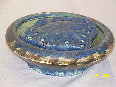 Antique Peters & Reed Arts & Crafts Era American Art Pottery Bowl w/Flower Frog
