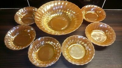 Anchor Hocking Vintage Fire king Swirl Peach Lustre USA Ovenware Bowls .