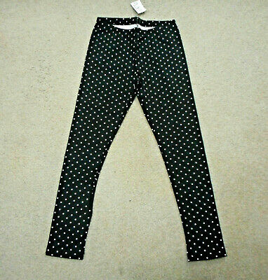 The Children's Place Girls Size 7/8 Black And White Dot Leggings Nwt