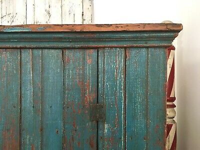 Early Aafa Antique Folk Art Cabinet Cupboard Square Nails Orig Blue Paint Repair