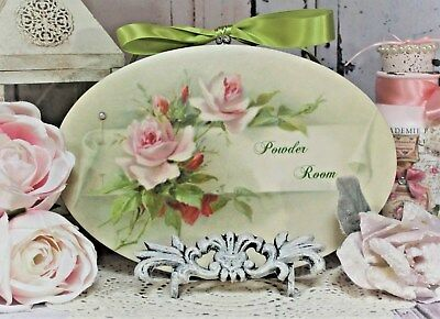 "~ Shabby Chic French Country Cottage style - Wall Decor Sign ~ ""Powder Room"" ~"