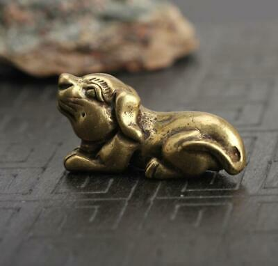 Chinese antique Exquisite Collection Asian Brass Zodiac Dog Key buckle Pendant