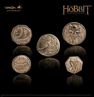 Weta LOTR The Hobbit Complete COIN Set OF 5 : The Treasure of SMAUG Coin Replica