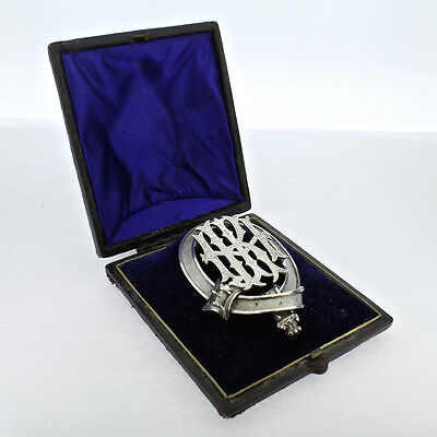 Antique Cased Large Figural Victorian Silver Buckle Brooch w Monogram - Pin - VR