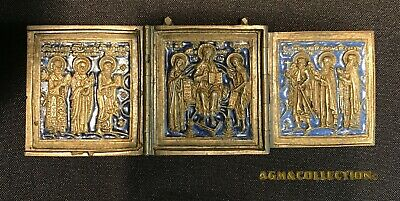 "Antique Russian Orthodox  Enamel Triptych Icon ""Deesis With Selected Saints"""