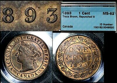 BLACK FRIDAY SALE - Canada 1c 1893 Repunched 9 - MS62 (a416)