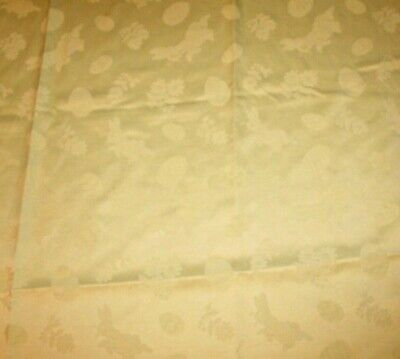 Vintage Tablecloth Sonoma Home Goods Pastel Yellow Damask Bunnies Eggs Easter