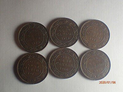 Canada Large Pennies 1920,1919,1918,1917,1916,1913  group 4