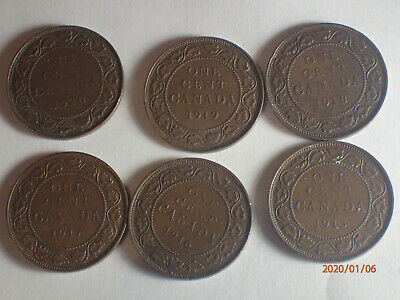 Canada Large pennies - 1920,1919,1918,1917,1916,1913  (group 3)