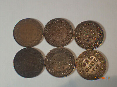 Canada Large Pennies - 1920,1919,1918,1917,1916,1910  (Group 2)