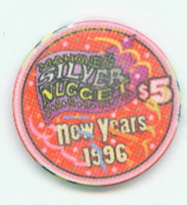 $5 Mahoneys Silver Nugget 1996 New Years Chip