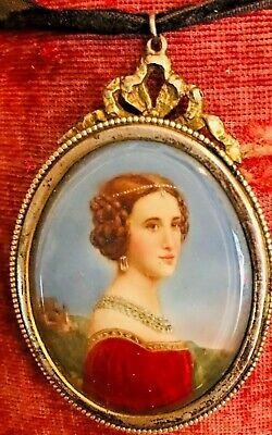 SUPERB ANTIQUE HAND PAINTED LADY PORTRAIT SILVER PENDANT BROOCH.19th CENTURY