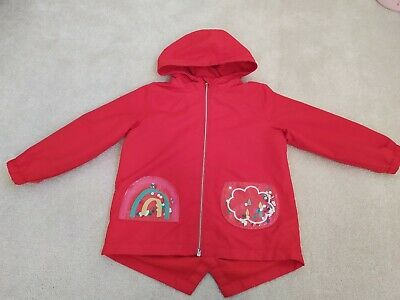 Next Girls Red Fleece Lined Rainbow Raincoat Mac Age 3-4 Excellent Condition