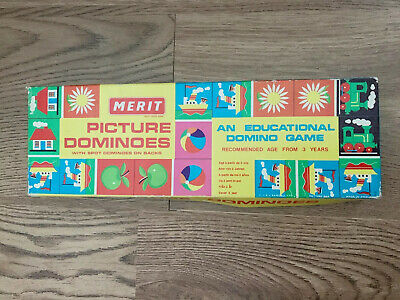 Vintage Dominoes Merit 6313 Picture Traditional Dots Education Boxed Game