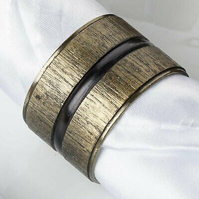 Antique Copper Napkin Rings with Ribbed Surface Black Striped Center - 4/pk